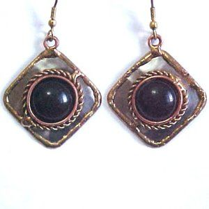 Handmade Mixed Metal Black Onyx Earrings